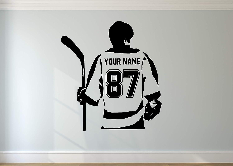 Custom NAME /& NUMBERS Custom Player Hockey Shot Vinyl Decal Sticker Kids Bedroom Decor Personalized Hockey Wall Decal