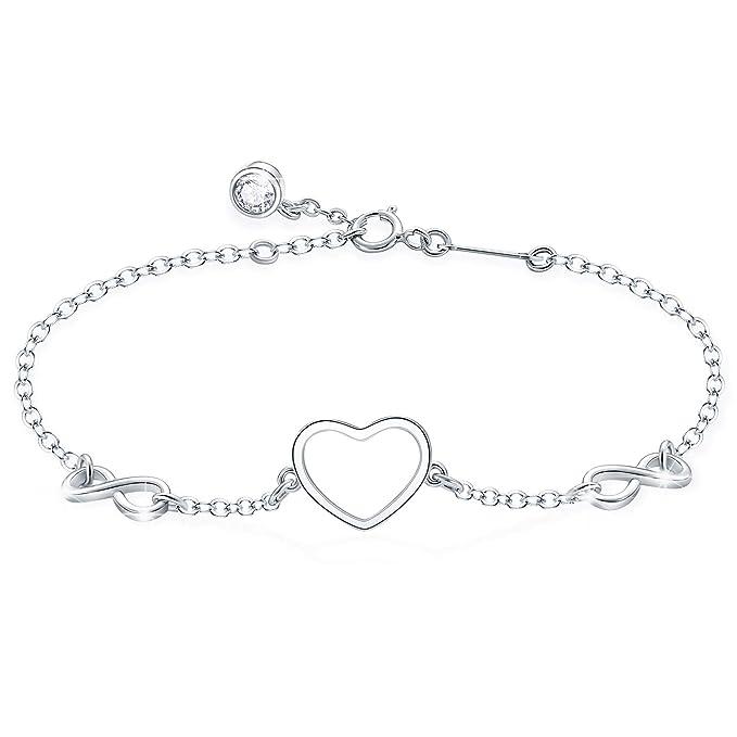 Tusuzik Pulsera ajustable de plata de ley 925 con símbolo de amor infinito, símbolo de amor infinito, para mujeres y…