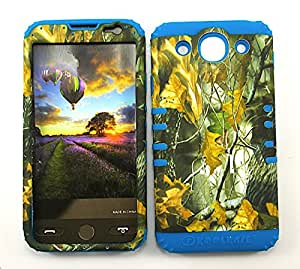 SHOCKPROOF HYBRID CELL PHONE COVER PROTECTOR FACEPLATE HARD CASE AND LIGHT BLUE SKIN WITH STYLUS PEN. KOOL KASE ROCKER FOR LG OPTIMUS G PRO E980 HUNTER FOREST CAMO DRY LEAVES LEAVES LB-WFL026
