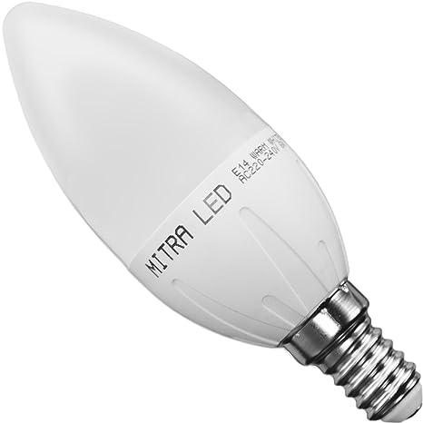 Bombilla LED E14 la vela 6 Watt equivalencia de incandescente 50 Watt emisión 500 Lumen Candle