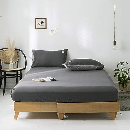 GUANLIDE Equipado con sábanas de algodón, Doble Funda de colchón, Ropa de Cama más Profunda para el Dormitorio Gris Oscuro 150 * 200 cm,Sábana Encimera Ajustable: Amazon.es: Hogar