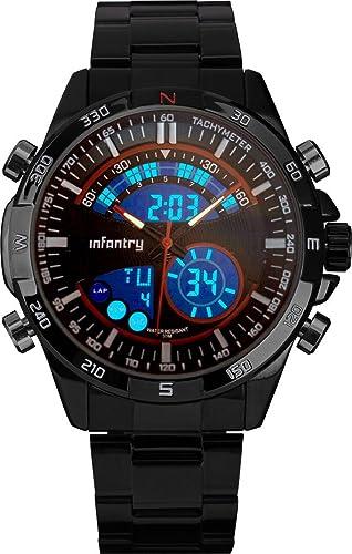 Infantry Hombre Analog de Digital Reloj de pulsera Fecha Alarma Cronómetro Relojes Planeador Outdoor Sport Reloj Marino Rojo Acero inoxidable pulsera: ...
