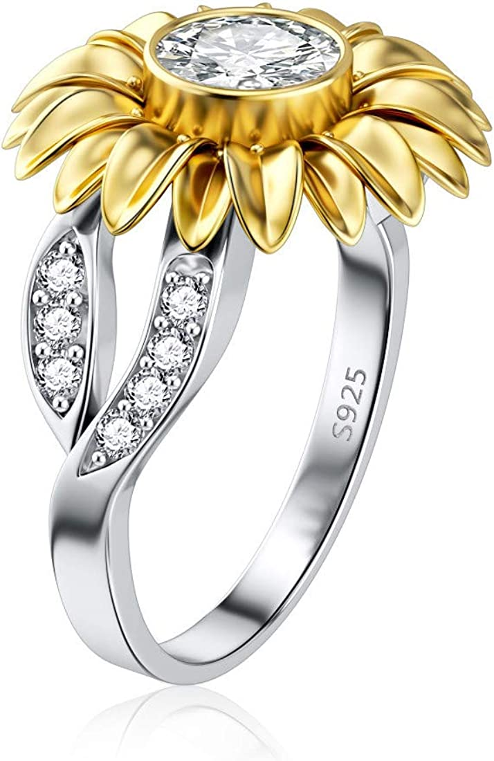 DALARAN Sunflower Rings for Women Sterling Silver Cubic Zirconia Ring Size 6-10