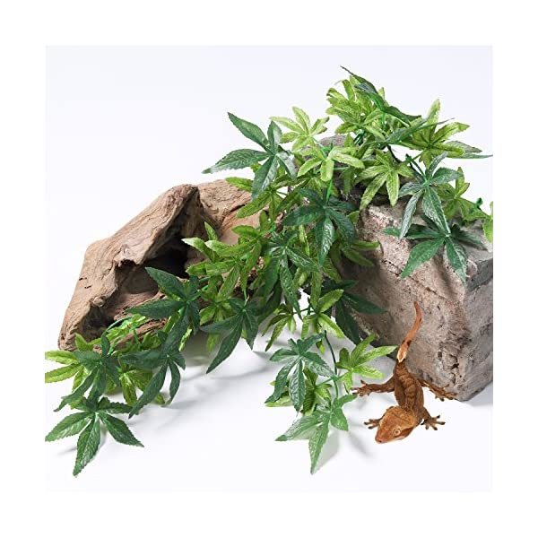 SLSON Reptile Plants Hanging Terrarium Plants Fake Reptiles Climbing Plant for Bearded Dragons,Lizards,Geckos,Snake Pets and Hermit Crab Tank Habitat Decorations,Large Size,20 inches 3