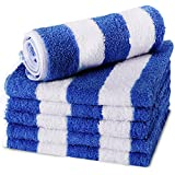 "Utopia Towels Cotton Beach Washcloths, 13"" x 13"" - Cabana Stripe, Blue, 6 Pack, Pool Towels"