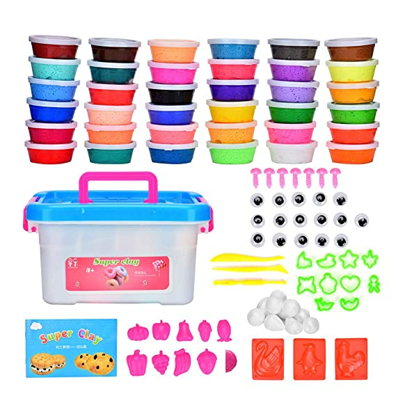 Queta 36 Colores Air Dry Clay Kit Magic Clay DIY Modelado Creativo, Modelo de Masa plástica con Proyecto folleto Regalo Creativo para niños: Amazon.es: ...