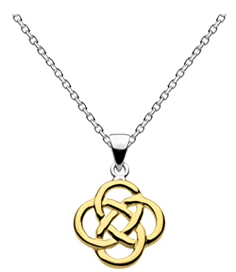 Heritage Women's Sterling Silver Celtic Trinity Knot Necklace of Length 18 inch BHVwiJr6u