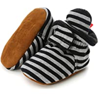 TIMATEGO Newborn Baby Boys Girls Cozy Fleece Booties with Grippers Stay On Slipper Socks Infant Toddler Crib Winter…