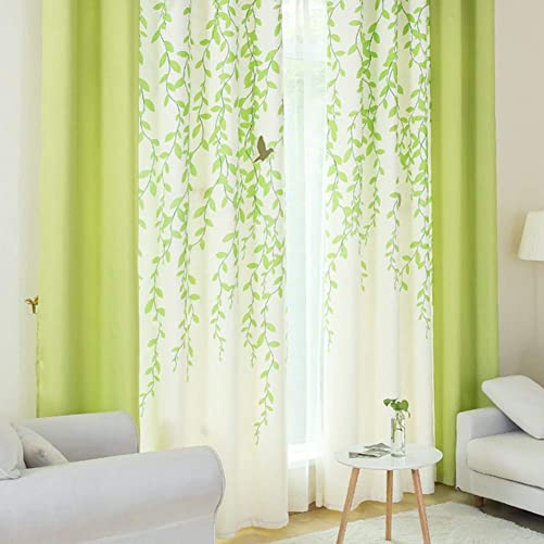 Riyidecor Lime Green and White Tree Leaf Print Curtains 2 Panels Each 52 x 84 Inch Blackout Patio Door Dining Room Living Room Bedroom Light Color Fresh Print Pattern Drapes Window Treatment Fabric