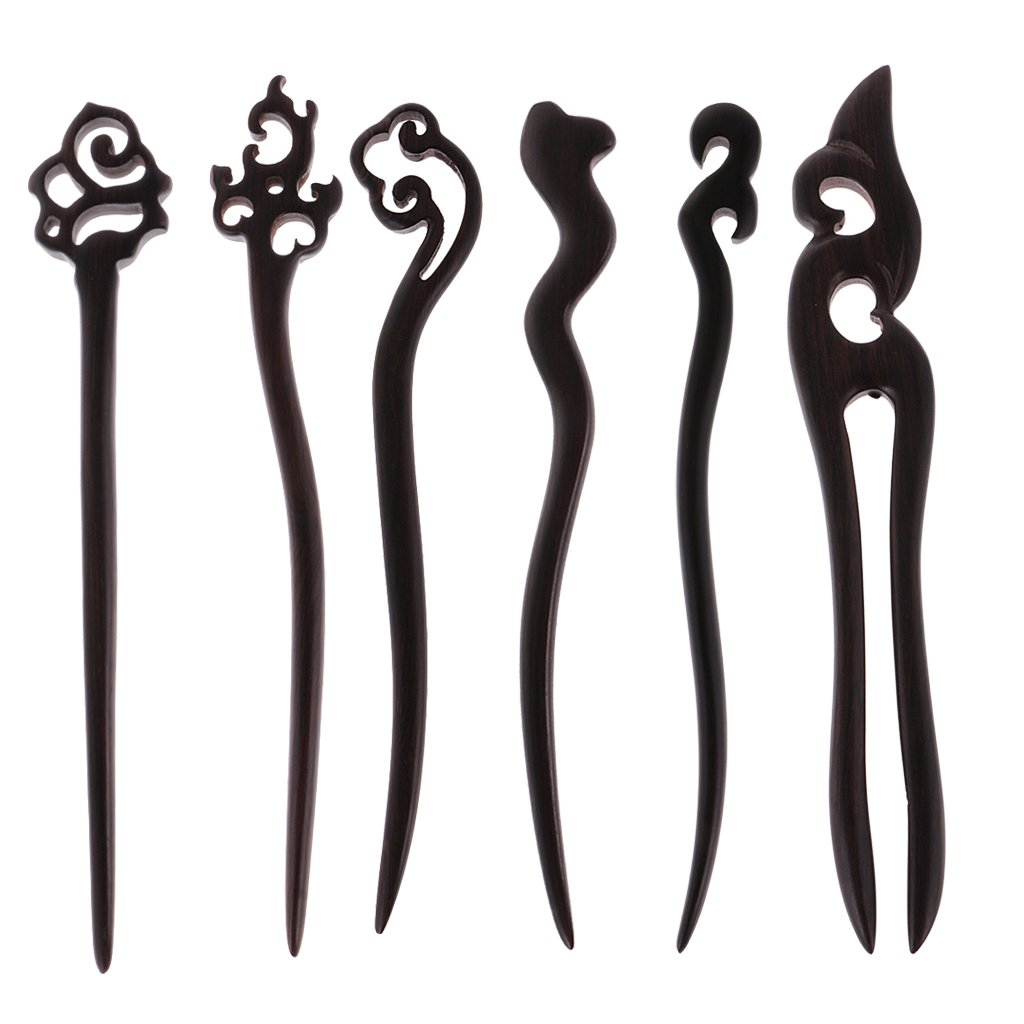 Dovewill 6 Pieces Assorted Retro Black Sandalwood Chinese Hair Stick Hairpin Chignon Pins