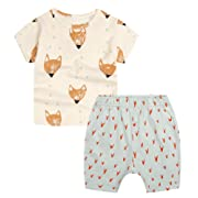 Baby Boys' Toddler Outfits Kids T-shirt Top Shorts Set(12-18m,Yellow Foxes)