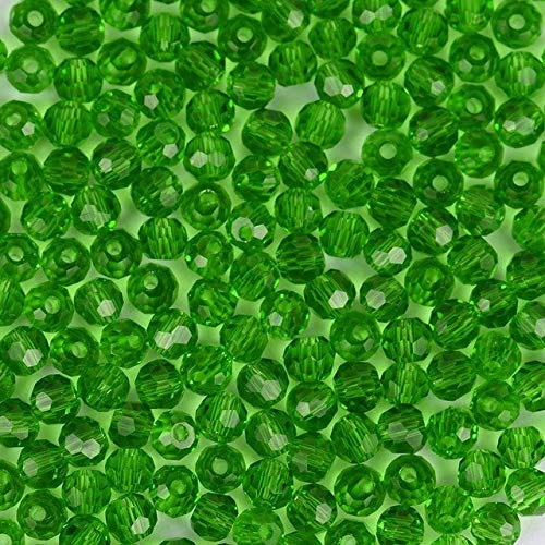 Calvas Ball Faceted Austrian Crystal Beads 3mm 200pcs Top Quality Round Sphere Shape Crystal Loose Bead for Jewelry Making Bracelet DIY - (Color: Grass Green B 3MM, Item Diameter: 3mm)