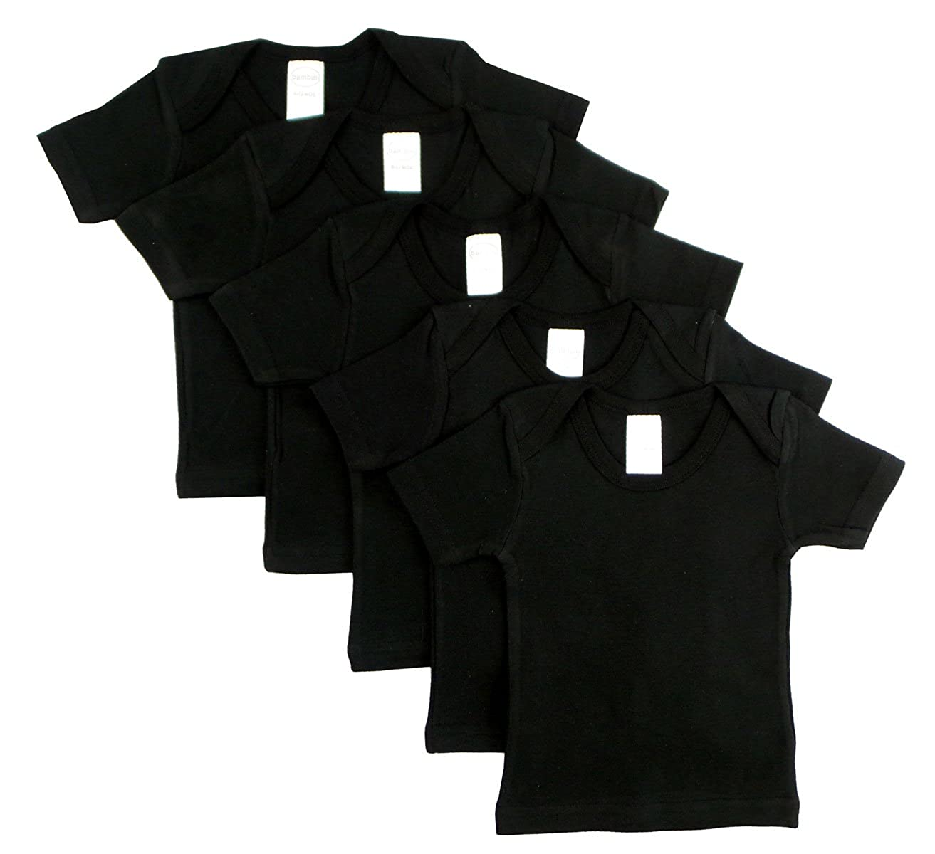 Black Pack of 5 0550BL5-6-12 JBDSupplyEnt Black Short Sleeve Lap Shirt - Neutral