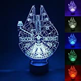 WOlight® 3D LED Night Light,Multi 7 Color Charge Button LED Desk Table Light Lamp Bedroom Children Room Decorative Night Light (Star Wars Millennium Falcon)