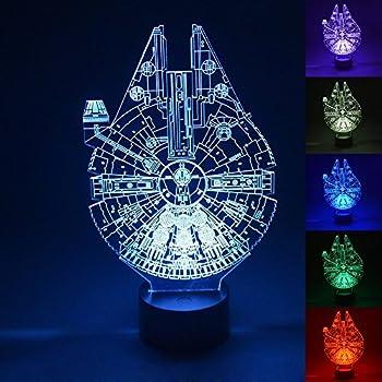 WOlight® 3D LED Night Light,Multi 7 Color Charge Button LED Desk Table Light Lamp Bedroom Children Room Decorative Night Light (Star Wars Millennium Falcon)