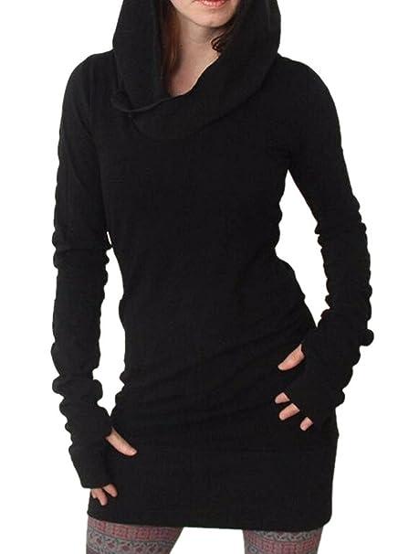 buy popular 9824d 9d59f Minetom Donne Manica Lunga Felpa con Cappuccio Bodycon Maglione Camicia  Vestito Corto Lungo Camicie Maglione