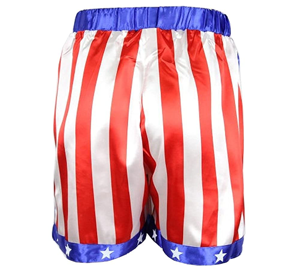 e44ea853cc07 Amazon.com  Rocky Balboa Mens Apollo Movie Boxing American Flag Shorts  Trunks boxers boxer  Clothing