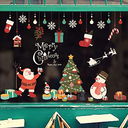 Merry Christmas Window Door Wall Sticker Decals Snowflake Santa Claus Xmas Decor