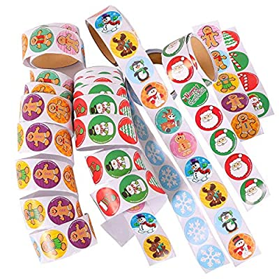 Kangaroo Christmas Stickers Variety Pack; 500 Holiday Stickers for Kids, Winter Snow Flake, Gingerbread Man, Santa, Reindeer and Stocking.: Toys & Games