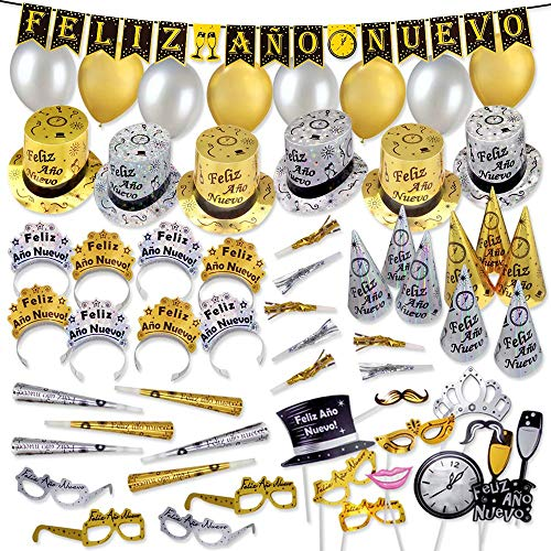 Kit for 50 - Feliz Año Nuevo, Hats, Tiaras, Balloons, Photo Booth Props and noisemakers New Year's Eve Party Kits (in Spanish) (50 People)