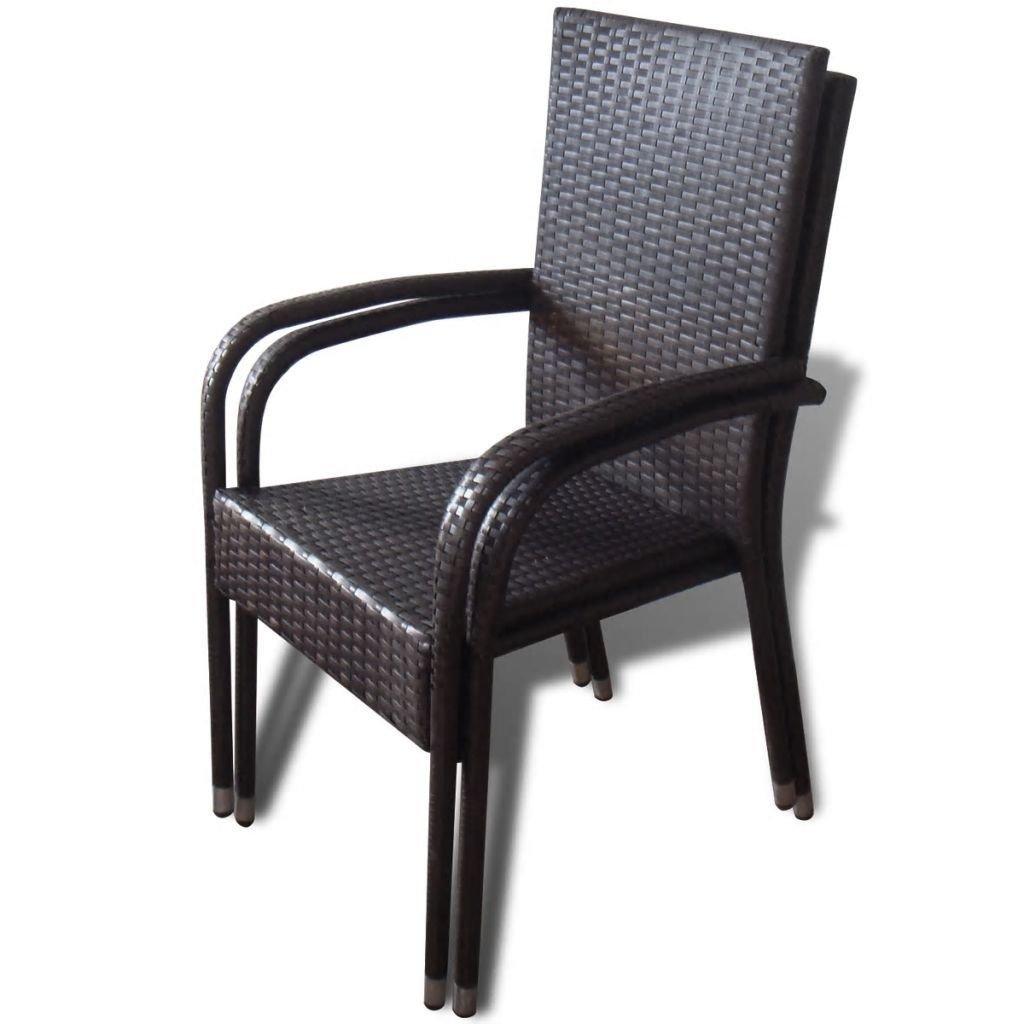 Amazon.com: Juego de 4 sillones de mimbre de poliratán para ...