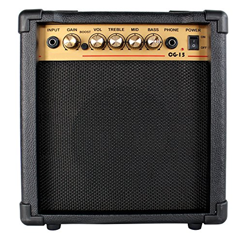 15w Guitar Amp (YMC 15-Watt Electric Guitar Combo Amplifier with Boost Switch and 1/4