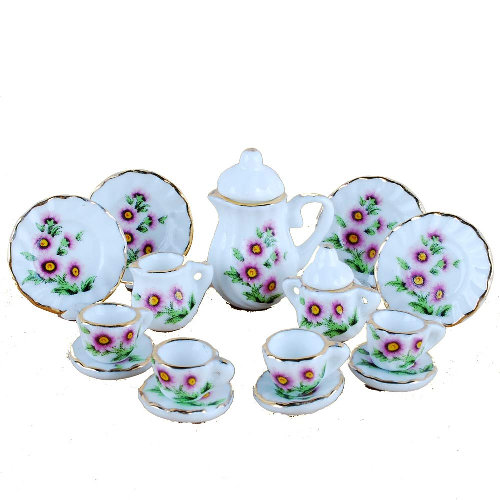NW 1 Set 15 Pieces Blue and White Porcelain Ceramics Tea Cup Set Lovely Dollhouse Decoration Set Dollhouse Kitchen Accessories
