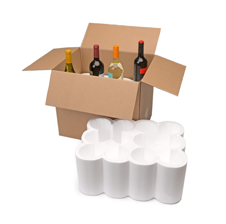 U-Haul Wine Bottle Shipping Kit for 12, 750 ml Bottles- Includes a 18-1/8'' x 13-7/8'' x 15-1/2'' Box & Styrofoam Inserts
