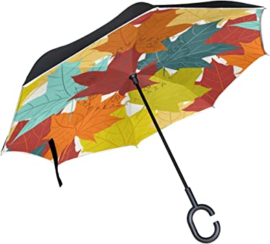 Double Layer Windproof Reverse Umbrella for Car in Rain UV Protection