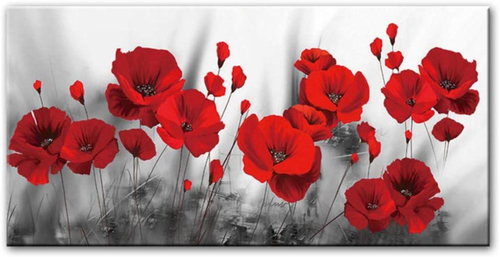 Flores de amapolas brillantes Pinturas de lienzo en la pared Carteles e impresiones de arte Decoración de dormitorio para el hogar Flores rojas Cuadros de pared 19.6