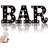 Black BAR Marquee Letters with Lights, Light Up Letters Marquee Signs Remote Control Desk Table Lamp for Bar, Pub,Bistro…