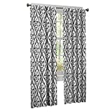 Style Selections Juvi 84-in L Floral Black/White Rod Pocket Curtain Panel For Sale