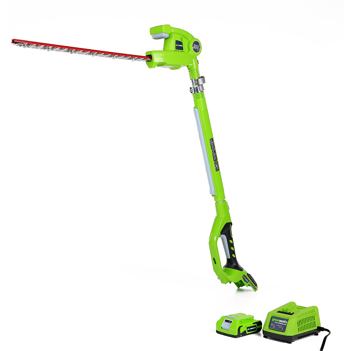 GreenWorks 7.25 24V Cordless, 2.0 Battery Included 22242 Pole Hedge Trimmer, 2Ah Charger, Electric Lime