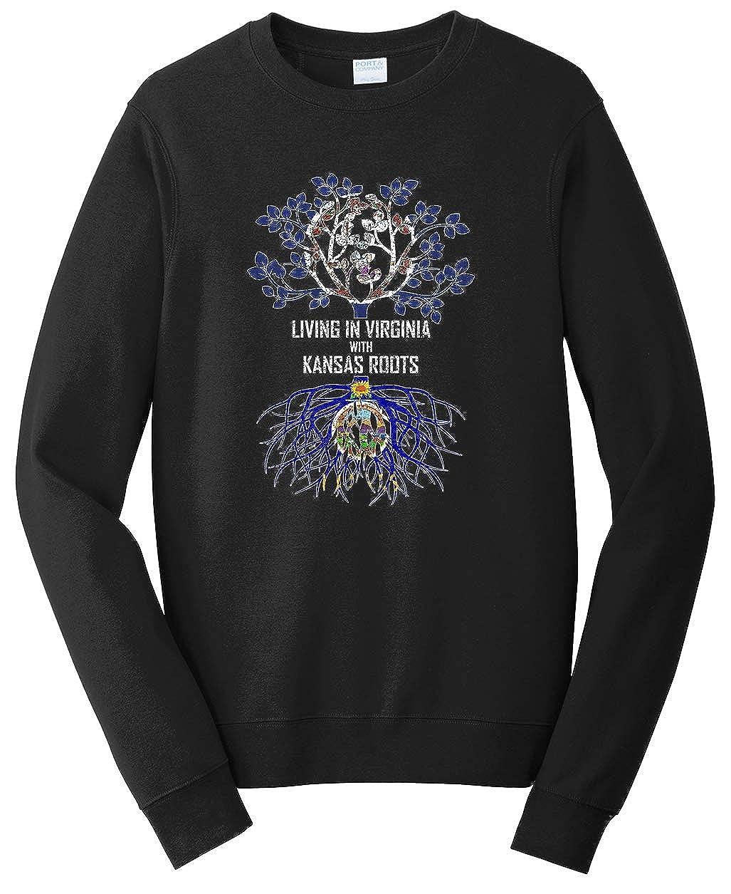 Tenacitee Unisex Living in Virginia Kansas Roots Sweatshirt