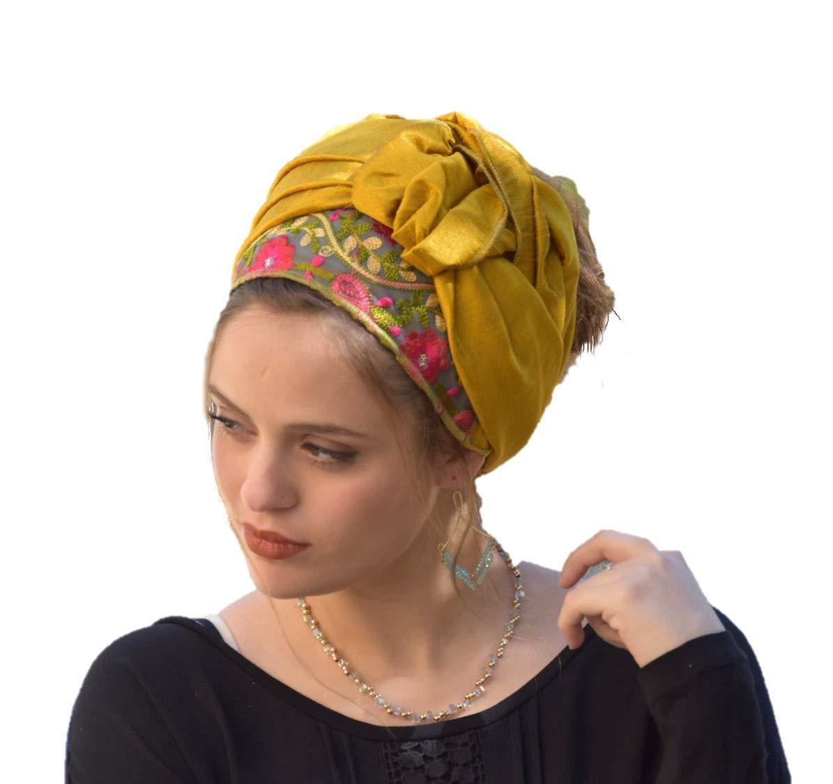 Sara Attali Wrap Headband, Bandana Tichel Hair Covering Headscarf One Size Golden Oasis