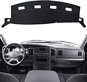 HanLanKa Black Carpet Dash Mat Compatible with 2002-2005 Dodge Ram 1500, 2003-2005 2500-3500,Custom Fit Dash Cover,Easy Installation Dashboard Cover