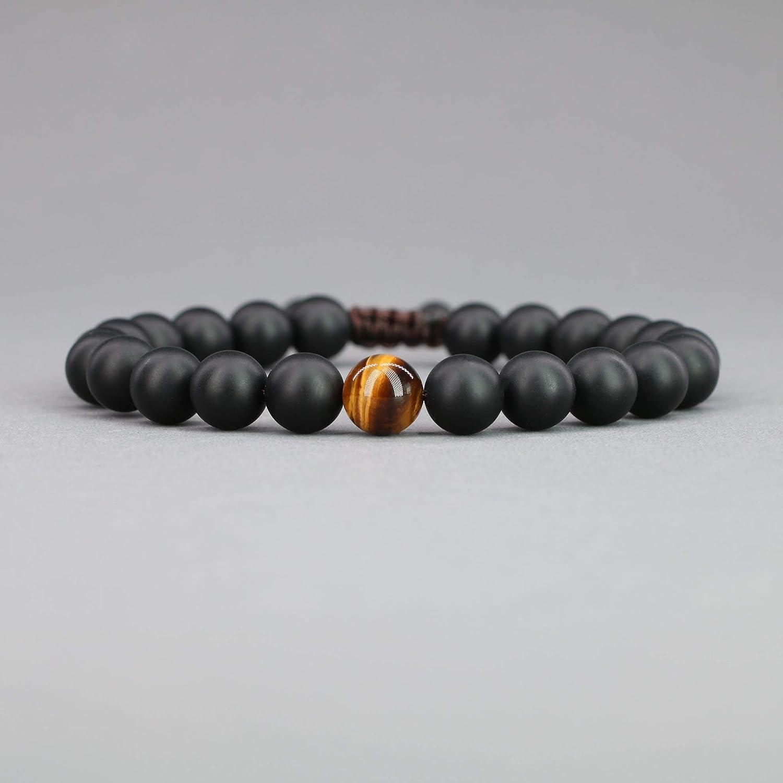 coai Adjustable Long Distance Relationship Stone Couple Bracelets Onyx & Howlite & Tiger Eye