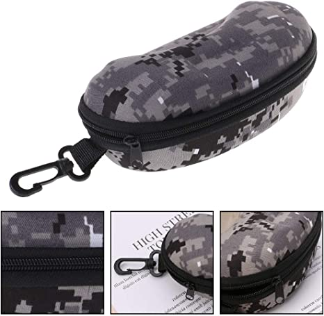 LLLucky Zipper Glasses Case Camouflage Sunglasses Storage Box Portable Reading Glasses Protector Grey