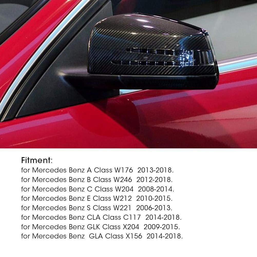 Cubierta de espejo lateral - 1 par de fibra de carbono Vista posterior de la cubierta de espejo retrovisor para Mercedes Benz A B C E GLA Clase W204 W212.