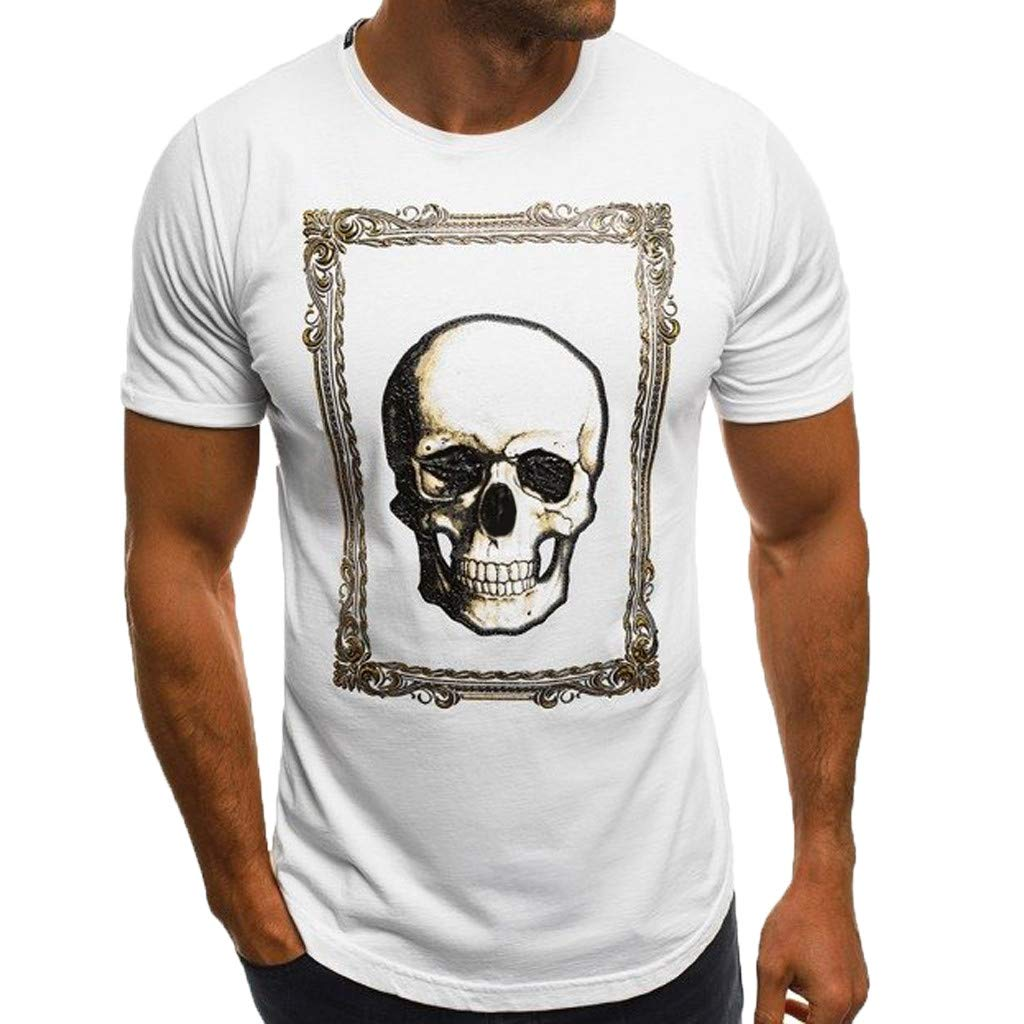 Hot!Mens Skull Print T-Shirt Ninasill Irregular Short Sleeve Round Neck Tops Loose Fashion Casual Cozy Sporty Blouse