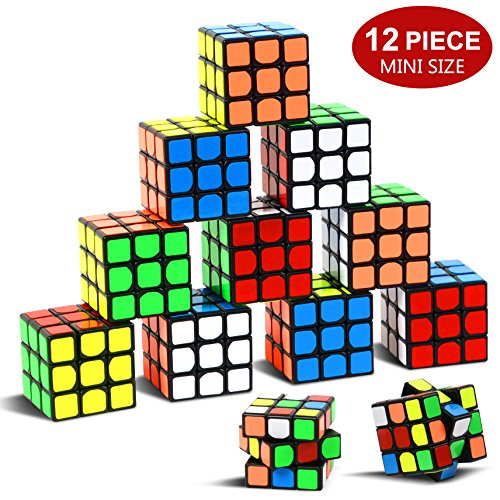 """Party Puzzle Toy,12 Pack Mini Cubes Set Party Favors Cube Puzzle,Original Color 1.18"""" Puzzle Magic Cube Eco-friendly Safe Material with Vivid Colors,Party Puzzle Game for Boys Girls Kids Toddlers"""