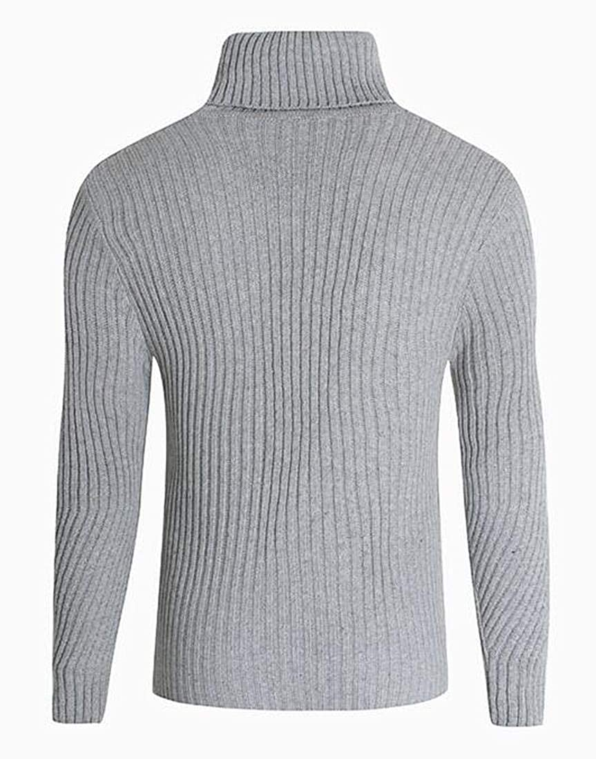 GRMO Men Knitted Thermal Turtleneck Stripe Slim Long Sleeve Thick Sweater