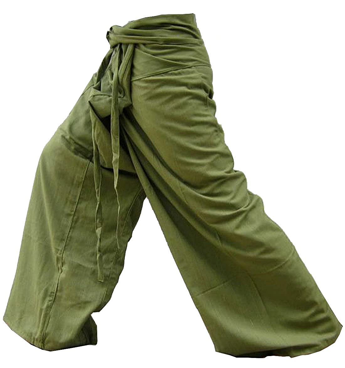 Solid Olive Original Thai Fisherman Yoga Pants Travel Pants Unisex Trouser Thai Hand Weave Heavy Cotton