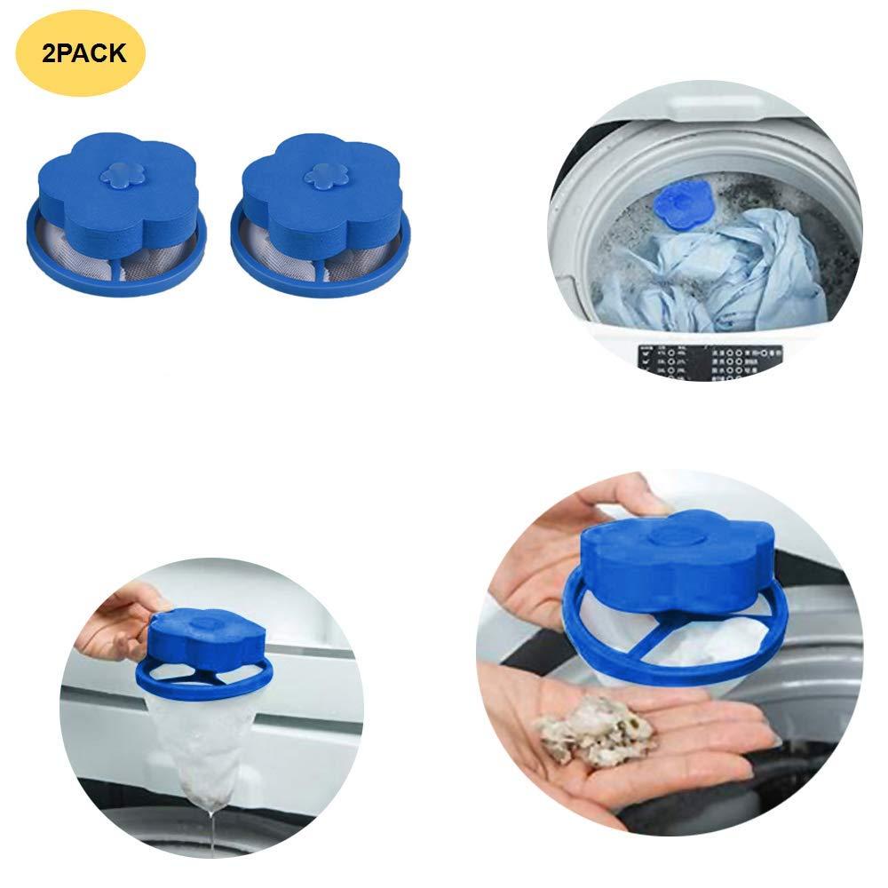 Saying Reusable Flower-Type Floating Washing Machine Lint Filter Bags Net - Pet Fur Catcher, Hair Filter Net Pouch, Washer Hair Catcher for Household Tool - Blue (2-Pack)