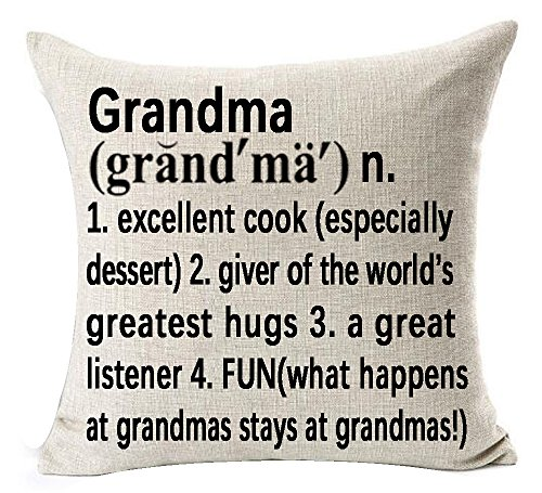 Best Grandma Gifts Warm Sweet Sayings Grandma Giver Of The World's Greatest Hugs Explanation Words Letters Cotton Linen Throw Pillow Case Cushion Cover NEW Home Decorative Square 18 X 18 -