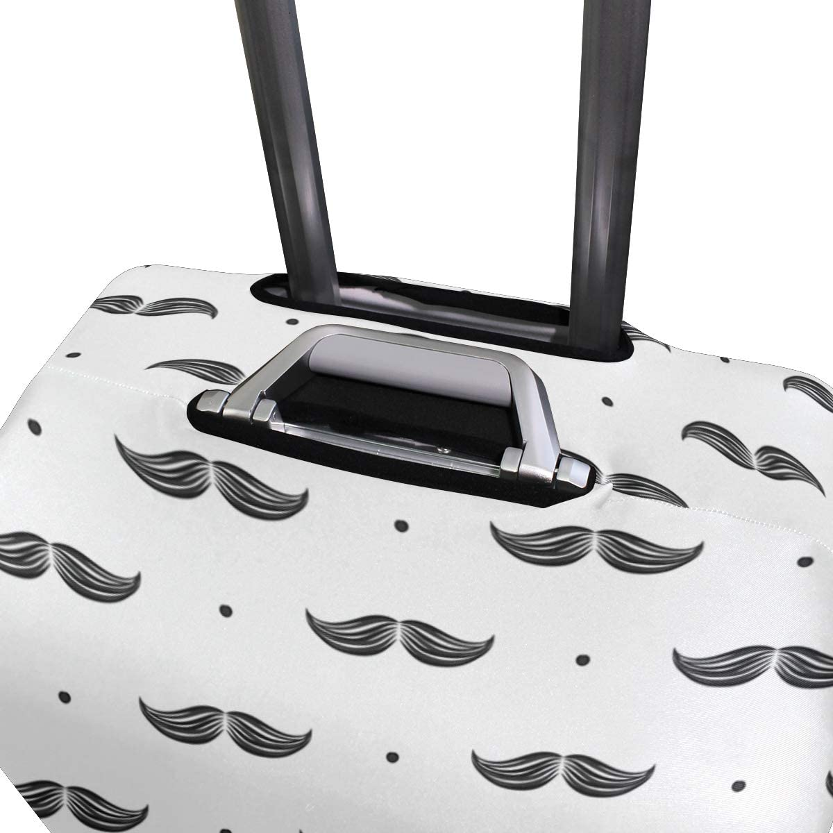 Cute Moustache Pattern Print Luggage Protector Travel Luggage Cover Trolley Case Protective Cover Fits 18-32 Inch
