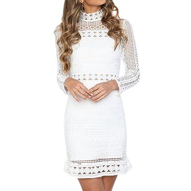 Best-Topshop Women Summer Autumn Long Sleeve High Neck Lace Patchwork Hollow Party Dress (