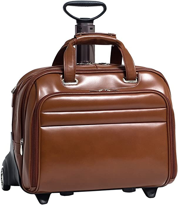 McKleinUSA Midway 86604 Brown Leather Fly-Through Checkpoint-Friendly 17 Detachable Wheeled Laptop Case