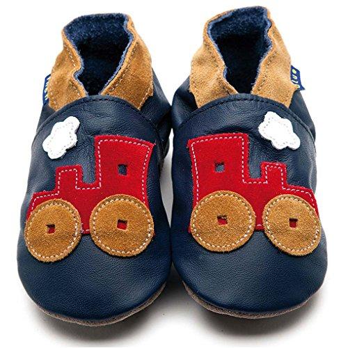 Inch Blue Jungen Schuhe für den Kinderwagen aus luxuriösem Leder - Weiche Sohle - Eisenbahn Dunkelblau Rot