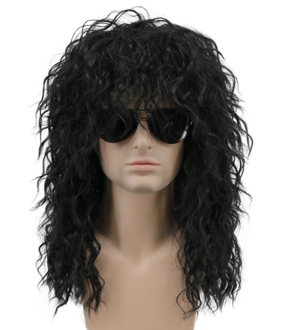 Karlery Mens Long Curly Black 70s Heavy Metal Rocker Wig 80s Themed Party Wig Costume Anime Wig